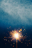 Abstract blue shiny background. With sparkler Stock Photography