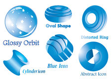 Abstract blue shiny icons Stock Image