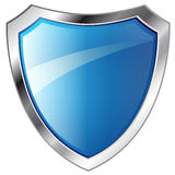 Abstract blue shiny metal shield Stock Images