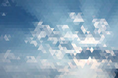 Abstract Blue Sky Geometric Triangular Low Poly. Stock Photos