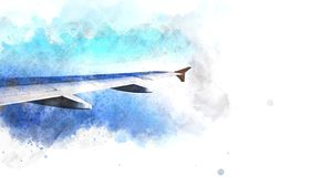 Abstract blue sky and plane wings on watercolor illustration painting. Background royalty free illustration