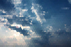 Abstract Blue Sky With Ray Of Sun Geometric Triangular Low Poly. Royalty Free Stock Images