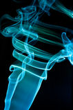Abstract blue smoke. Over black background Stock Image