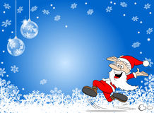 Abstract blue snowflake background with a cartoon santa claus Stock Photography