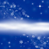 Abstract Blue Snowflake Winter Background with Copy Space Stock Photo