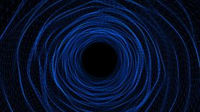 Abstract blue Space tunnel or time warp, traveling