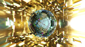 Abstract blue sphere on golden background. 3D rendering. Abstract sphere on golden background. 3D rendering Stock Photo