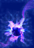 Abstract Blue Sphere with Plasma and Symbols Stock Images