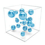 Abstract blue spheres isolated on white background. Abstract  blue spheres in wire box isolated on white background. 3d rendering Stock Photos