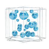 Abstract blue spheres isolated on white background. Abstract  blue spheres in wire box isolated on white background. 3d rendering Stock Images