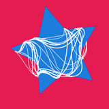 Abstract blue  star with white rope on red background Stock Photo
