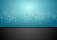 Abstract blue tech engineering background. Vector design stock illustration