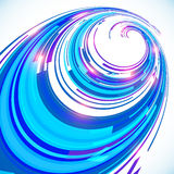 Abstract blue techno perspective spiral background Royalty Free Stock Photos