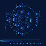 Abstract blue technology background with lines and light spots. Vector mechanism stock illustration