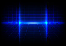 Abstract blue technology concept background with bright flare Stock Photo