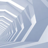Abstract blue toned square cg background. With empty tunnel interior perspective, 3d illustration Stock Photo