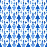 Triangles and balls seamless pattern. Abstract blue triangles and water drops texture seamless background. Pointing up and down rain concept Stock Images