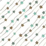 Abstract blue, turquoise and brown flowers like brooch and jewelry diamond chains on white background. vector illustration