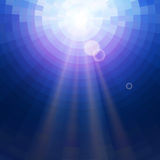 Abstract Blue underwater circle mosaic vector background with sun rays. Technology concept backdrop Royalty Free Stock Photography