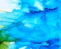 Abstract blue underwater splashes. Colorful background hand drawn with bright inks and watercolor paints. Color splashes and splatters create uneven artistic Stock Images