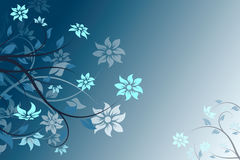 Abstract blue vector flower background stock photo