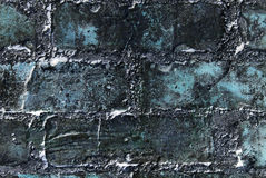 Abstract blue wall close up. Abstract grunge blue wall made of bricks. Textured background Royalty Free Stock Images