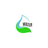 abstract blue water drop in green leaf logo. Natural pure liquid logotype. Fresh drink icon. Dew sign. Vector water drop illustration Stock Images