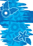 Abstract Blue Water Flowers Deco_eps. Illustration of abstract blue water feel with flowers and leaves on white background Royalty Free Stock Image