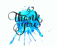 Abstract blue watercolor background as blots on white and text Thank you. Calligraphy lettering Stock Photography