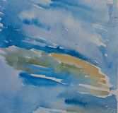 Abstract blue watercolor background. Hand drawn painted Stock Images