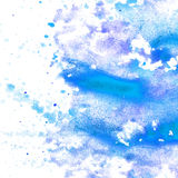 Abstract blue watercolor blot texture patch  on Royalty Free Stock Photo