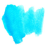 Abstract blue watercolor painted brushwork background. Stock Photo
