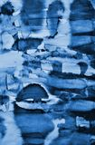 Abstract blue watercolor on paper texture as background. Christm Stock Photography