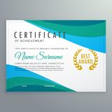 Abstract blue wave certificate of achievement template design. Vector Royalty Free Stock Photography