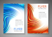 Abstract blue wave design for flyer, cover, poster, banner. Colorful abstract template.  Royalty Free Stock Images