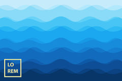Abstract blue waves background for design. Vector marine wallpaper Stock Photos