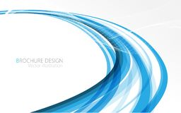 Abstract blue waves - data stream concept. Vector illustration Stock Images