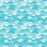 Abstract blue waves seamless pattern background. Vector abstract blue waves seamless pattern background with hand drawn elements Stock Images