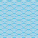 Abstract blue waves seamless pattern. Vector scale texture. Linear background Stock Photography