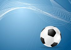 Abstract blue wavy soccer background with ball Stock Images
