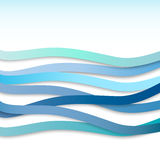 Abstract blue wavy stripes, vector  Stock Photos