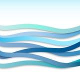 Abstract blue wavy stripes, vector  Stock Photos