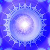 Abstract blue and white background resembling stylized snowflake. Abstract psychedelic object of star and flare with rays royalty free illustration