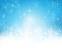 Abstract blue white Christmas, winter background. Festive blue white background with stars, snowflakes, out of of focus light dots and light effects which give stock illustration