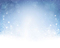 Abstract blue white Christmas, winter background. Festive blue white background with stars, snowflakes, out of of focus light dots and light effects which give royalty free illustration