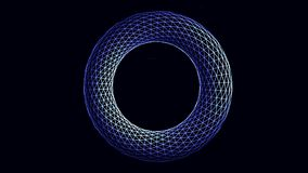 Abstract, blue and white, circle shape geometrical figure rotating on black background. Volume illustrated, transparent stock illustration