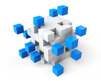 Abstract blue and white cubes Royalty Free Stock Photography