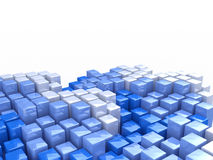 Abstract blue and white cubes. At registration information abstraction Stock Photos