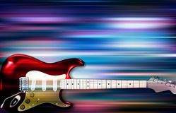 Abstract background with electric guitar. Abstract blue white music background with electric guitar Stock Photo