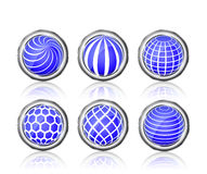 Abstract blue white round globe icon set Royalty Free Stock Photo